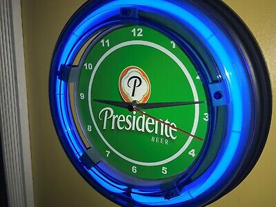 Presidente Dominican Beer Bar Man Cave Advertising Blue Neon Wall Clock Sign