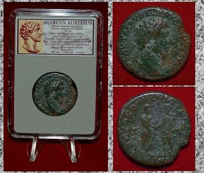 Ancient Roman Empire Coin MARCUS AURELIUS Scarce Issue with Lucius Verus