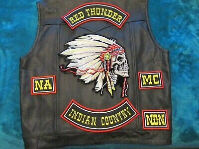RED THUNDER NA MC colors on new XL leather vest & beret
