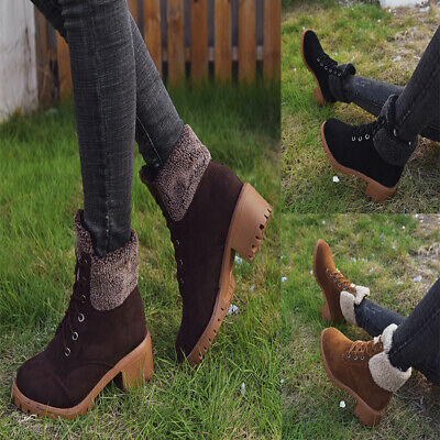 Fashion Women Lace-up Martin Boots Round Toe Frosted Warm Winter Shoes 1 Pair