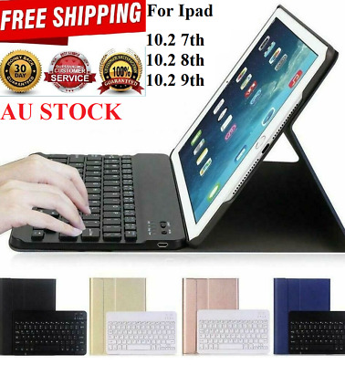 iPad 10.2 7th Gen 2019 Bluetooth Keyboard Stand Cover Smart Case With Pen holder