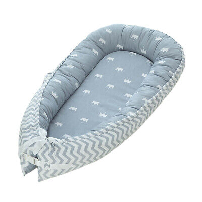 Baby Lounger Newborn Infant Baby Bed Portable Pillow Blue Crown 0-3 Years Old