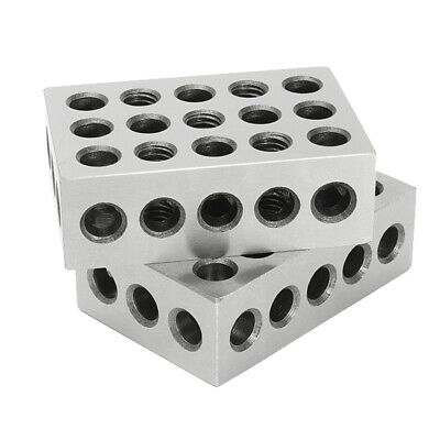 """One Pair of Hardened 1-2-3 Block Set 0.0002"""" Precision 23 Holes, Carbon Steel"""