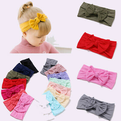 Baby Girls Kids Toddler Bow Hairband Headband Stretch Cloth Knot Head Wrap H0
