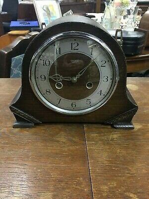 Antique Smiths Oak Cased Striking Mantle Clock Good Working Order Working
