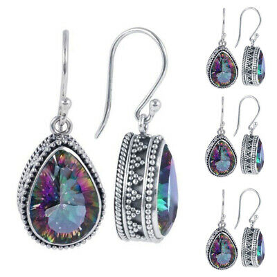 Womens Topaz Rainbow Earrinngs Drop Dangle Hook 925 Sterling Silver Ear Studs
