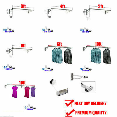 Wall Mounted 32mm Clothes Rail Garment Hanging Rack Display Tube Shops Home