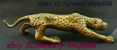 Rare China Dynasty Palace Bronze Fengshui Animal Leopard Panther Cheetah Statue