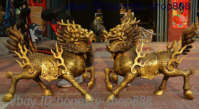 Chinese Copper Brass Kylin Chi-lin Qilin God Dragon Beast Feng shui Statue Pairs