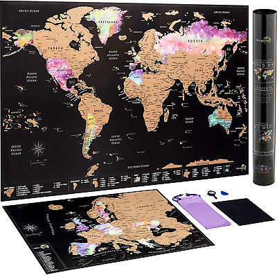 Scratch Off World Map Poster + BONUS Europe Map - Detailed travel maps in Nebula