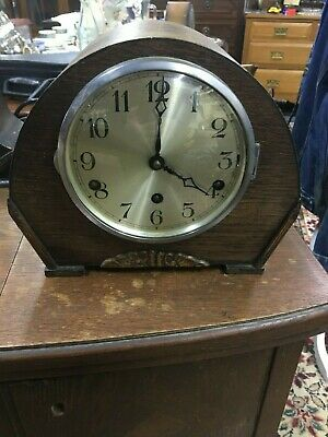 Antique Westminster Chiming Mantle Clock No Pendulum & key Not Tested