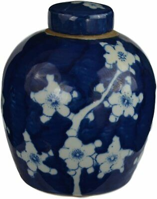 Festcool Antique Style Blue and White Porcelain Blue Cherry Blossom Plum Flower