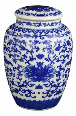 Festcool Blue and White Porcelain Floral Ceramic Tea Storage Covered Jar Contain