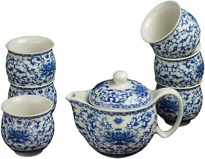 7 Pc Premium Blue and White Porcelain Tea Set Fine Tea Pot Tea Cups Traditional