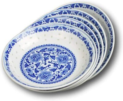 """7.5"""" Inch Asian Chinese Salad/Dessert Ceramic Plate Set, Round, Set of 6, Blue a"""