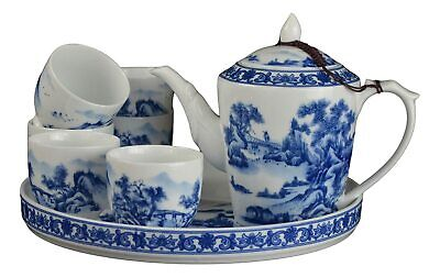 8 Pc Premium Blue and White Porcelain Tea Set Teaset Fine Tea Pot Tea Cups Tradi