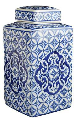 Festcool Classic Blue and White Porcelain Square Jar Vase, China Ming Style, Jin