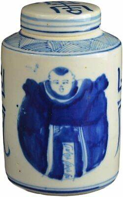 Festcool Antique Style Blue and White Porcelain Good Luck Ceramic Covered Jar Va