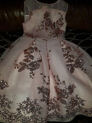 Baker by Ted Baker Girls Light Gold Sequin Party Dress Age 10- 11 Years RRP£75