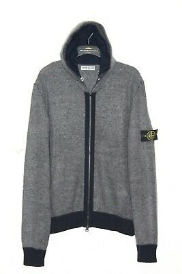Stone Island  Aw 2011 Full Zip Up Knitted Wool Hoodie Jumper,Retro,Size:large