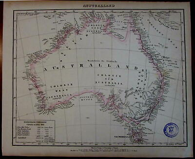 Colonial Australia w/ colonies Lake Torrens unknown 1852 Flemming map hand color