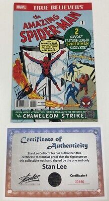 Marvel True Believers Amazing Spider-Man #1 Reprint Signed by Stan Lee w/COA