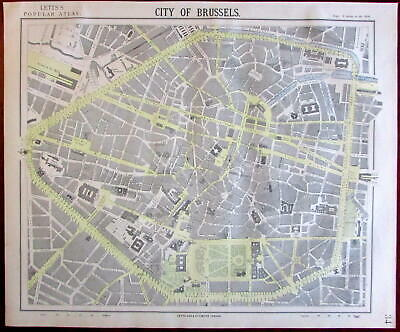 Brussels Belgium 1883 Lett's city plan map scarce