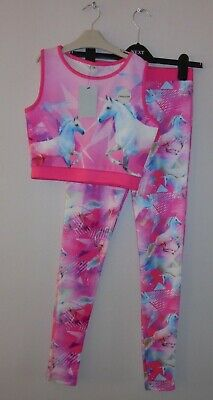 Bnwt Tu Girls Stylish Unicorn Sports Crop Top & Leggings Set Age 14 Years