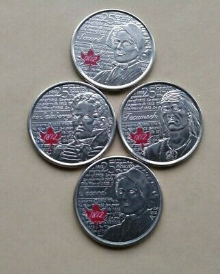 War Of 1812 Lot Of 4 Canada  Au 2012 & 2013 Quarters 25 Cents Colored