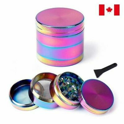 Rainbow Zinc Alloy 4 Layer 40mm Spice Herb Grinder w/ Scraper