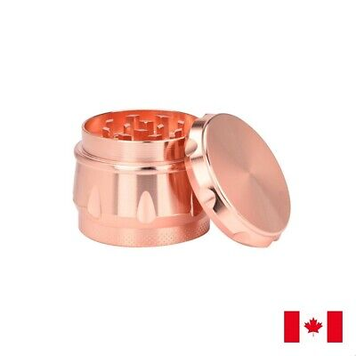 Rose Gold Drum Zinc Alloy 4 Layer 40mm Spice Herb Grinder w/ Scraper