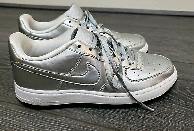 Older Girls Womens Metallic Silver Nike air force 1 af1 trainers size UK 4 36.5