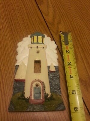 Lighthouse 3d coast hand painted ceramic single switch cover water boat ocean