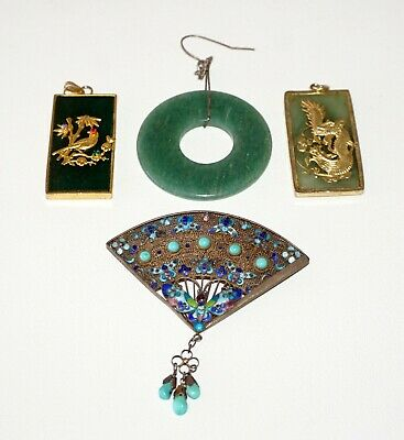 4Pc 20C Chinese Pendant Lot Jade Disk & Plaque Silver Filigree Enamel (NoN) P17