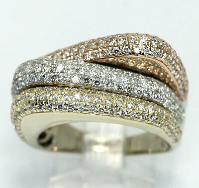 G color diamond triple band ring 14K rose white yellow gold round brilliant 2CT