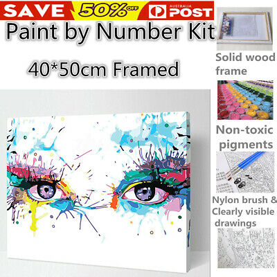 Wooden Framed Multi-colored Eye Paint by Number Kit Painting DIY Home Wall Decor