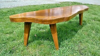 Vtg Live Edge Slab Mid Century Modern Coffee Table Nakashima Mccobb Modernist