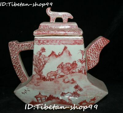 "9"" Red Glaze Porcelain Dynasty Hill Water Tree House Wine Tea Pot Flagon Statue"
