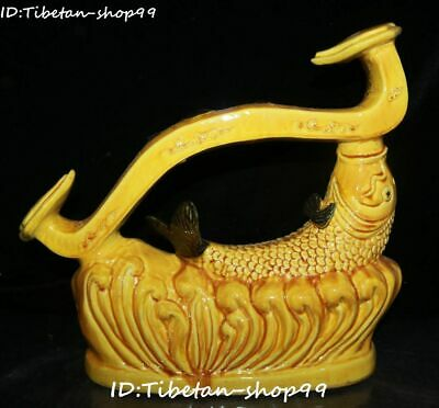"12"" Unique Yellow Glaze Porcelain Fengshui Fish Fishes Wishful Ruyi Ru Yi Statue"