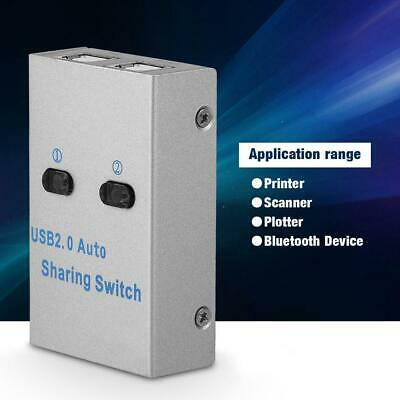 UK PC Computer USB 2.0 Auto&Manual Sharing Switch Hub 2 Port Adapter for Printer