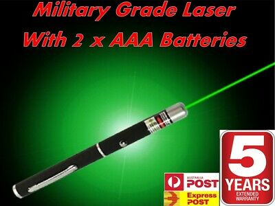 Military High Power Green Laser Pointer Pen with 2x AAA Batteries