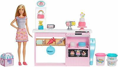 Barbie Blonde Baker Doll Cake Decorating Playset Baking Counter Toy Icing Pieces
