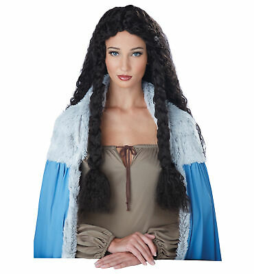 W540 Medieval Princess Renaissance Viking Book Week Long Curly Costume Wig Hair