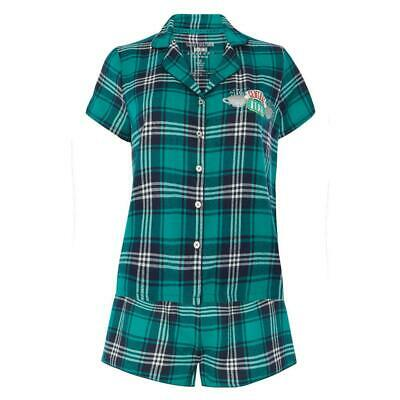 Central Perk Tartan Pyjama Set Women Pj's Girls Nightwear Cotton Shorts Lounger