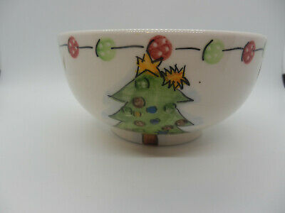 Set of 2 Tabletops Gallery Hand Painted Button Christmas Tree CEREAL/SOUP BOWLS