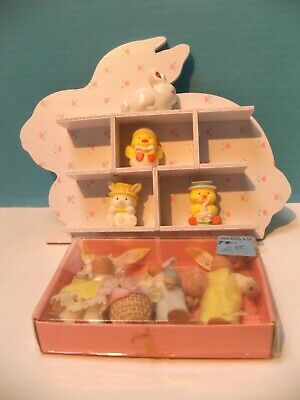 Vintage Easter/Spring Set of Tiny Bunnies/Bunny Miniature Holder w/4 Figurines