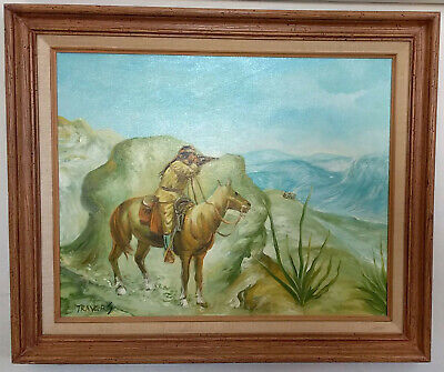 Indian shooting at Covered Wagon Pioneers - 1970s oil painting - Native American