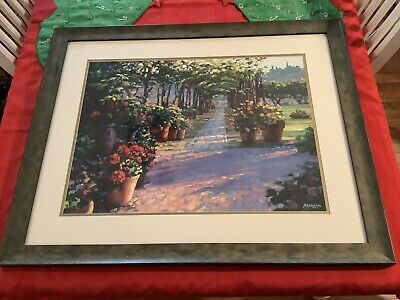 Howard Behrens Framed And Matted Print - Siena Arbor Garden Path