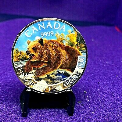 """Lowest  1OZ SILVER CANADAIAN $5 COIN""""PREDITOR SERIES""""GRIZZLY""""SERIES SPRING W/CAP"""