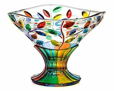 Murano Crystal Flowervine Pattern Compote Bowl -  Hand Painted In Italy
